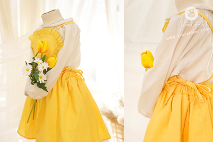 [new10%↓ 03.28, 11am까지] 요리조리 봐도 눈부신 그녀란, :) - deep yellow cotton cute baby overall dress
