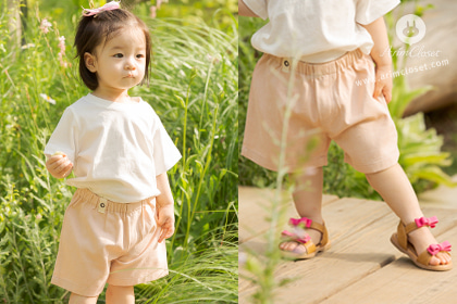 쪼꼬미야 까꿍~나랑놀자~ , Basic pants - pink / light beige cotton baby baisc summer pants
